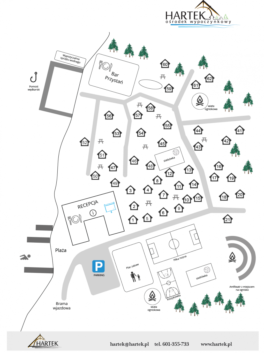 Hartek - położenie domków letniskowych, plaży, baru, placu zabaw, boisk, wiat ogniskowych, amfiteatru.